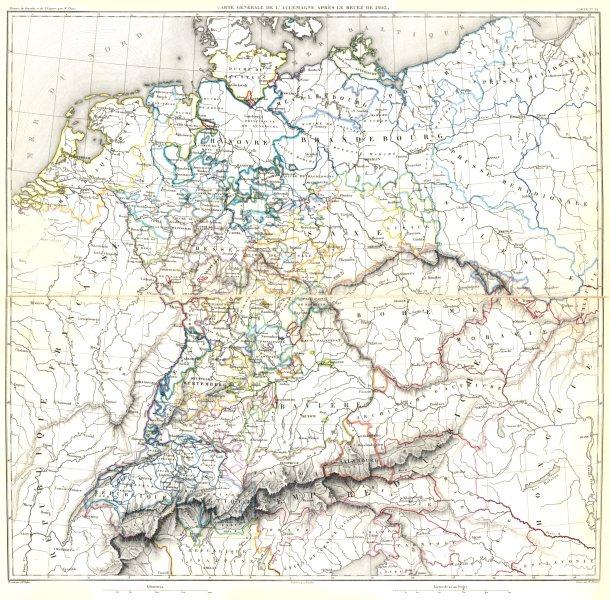 Associate Product GERMANY MEDIATISATION. Allemagne Après le Recez de Recess of 1803 1859 old map