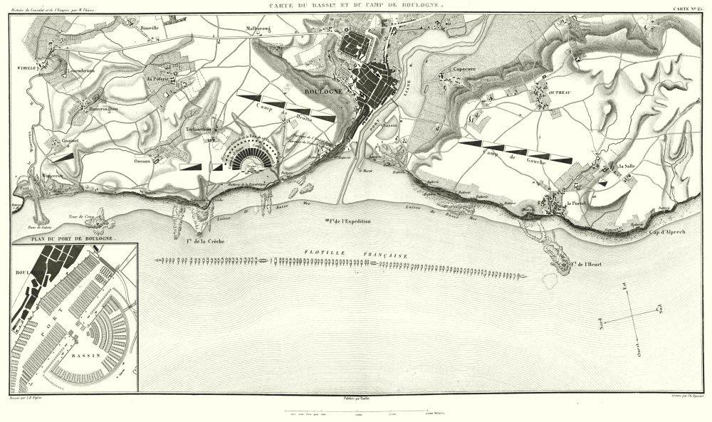Associate Product BOULOGNE. Bassin et Camp de Boulogne 1803; Port. Flotille Française 1859 map