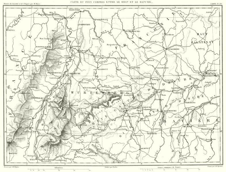 Associate Product GERMANY. Pays entre le Rhin et le Danube. Munchen Stuttgart Frankfurt 1859 map