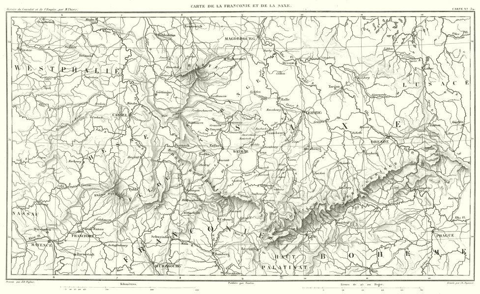 GERMANY.Franken (Franconie) Sachsen (Saxony Saxe). Dresden Leipzig 1859 map