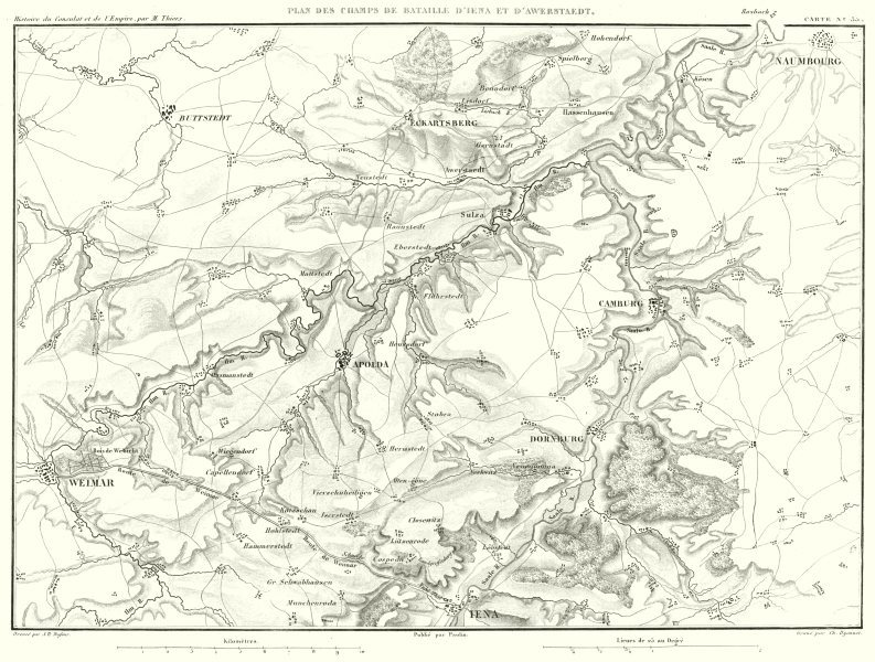Associate Product GERMANY. Champs Bataille Iena Awerstaedt Jena Auerstedt 1806. Weimar 1859 map