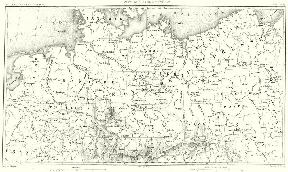 Associate Product GERMANY. Chart du Nord de L'Allemagne. Prusse Prussia 1859 old antique map
