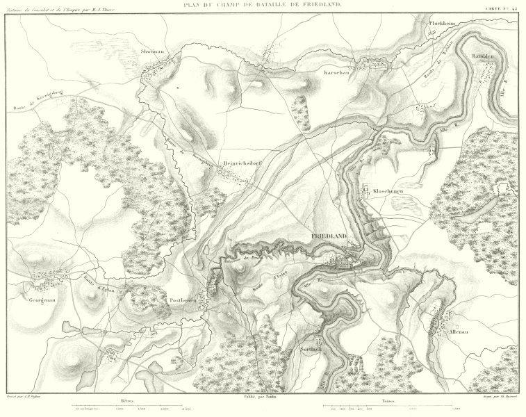 Associate Product RUSSIA. Champ de Bataille de Battle of Friedland 1807. Pravdinsk 1859 old map