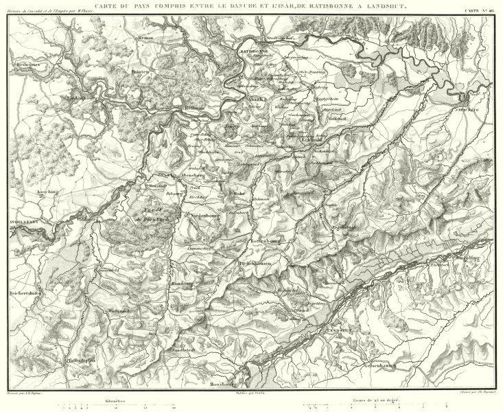 Associate Product GERMANY. Danube-Isar; Regensburg Ratisbonne - Landshut 1859 old antique map