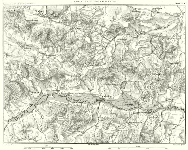 Associate Product GERMANY. Environs D'Eckmüh.l Langquiad Schierling 1859 old antique map chart
