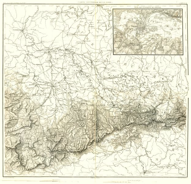 Associate Product GERMANY. Sachsen Saxony Saxe ; inset Dresden (Dresde)  1859 old antique map