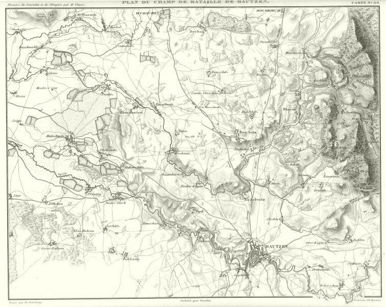 Associate Product GERMANY. Plan du champ de Bataille de Battle of Bautzen 1813 1859 old map