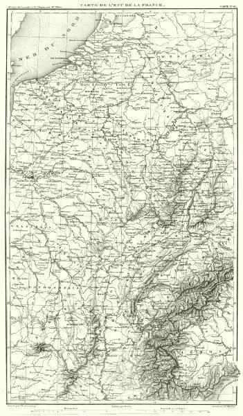 FRANCE. Carte de L'est de la France 1859 old antique vintage map plan chart