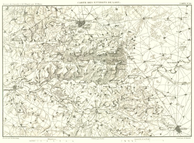 Associate Product AISNE MARNE. Environs de Laon Soissons Reims 1859 old antique map plan chart