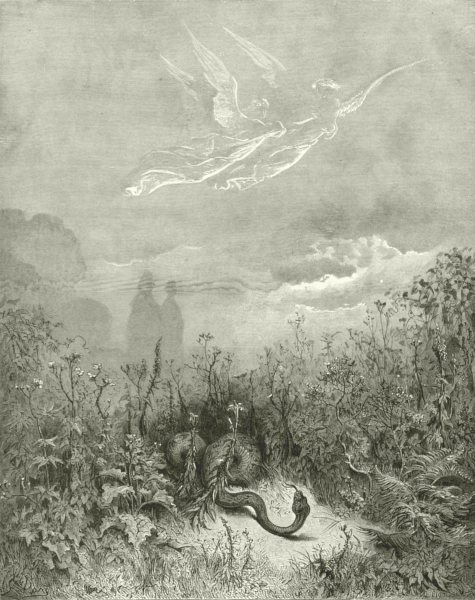 Associate Product DANTE. Hearing air cut Verdant plumes, serpent fled. stations, angels up 1893