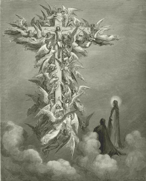 DANTE. Christ beam'd on that cross; and pattern fails me now 1893 old print