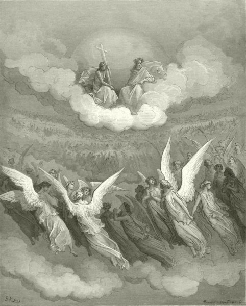Associate Product MILTON PARADISE LOST. Heaven rung jubilee loud hosannas filled eternal c1886