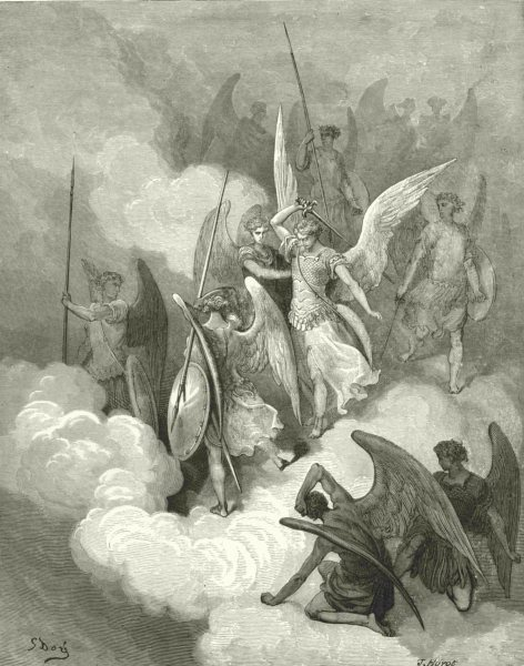 Associate Product MILTON PARADISE LOST. This greeting on thy impious crest receive c1886 print