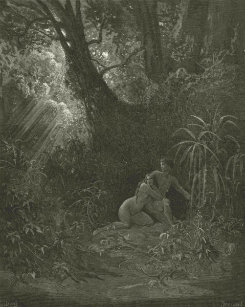 Associate Product MILTON PARADISE LOST.They heard presence hid themselves among thickest  c1886