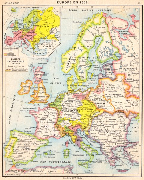 Associate Product EUROPE. Europe Occidentale en 1559; Inset map of Europe Religieuse 1900