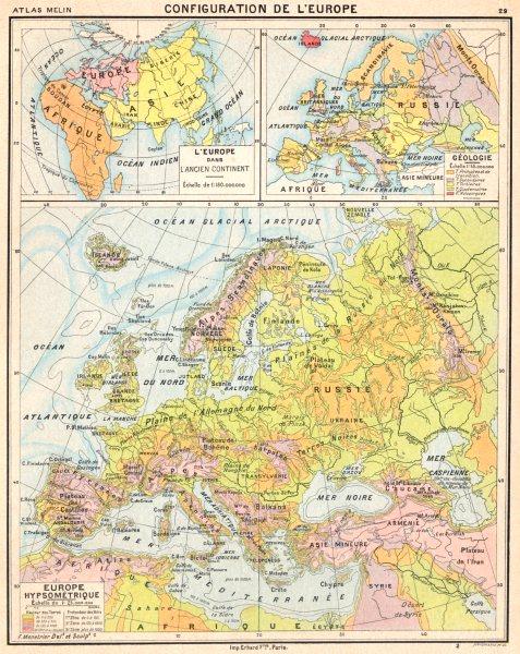 Associate Product EUROPE. Configuration de L'Europe; Hypsométrique; Géologie 1900 old map