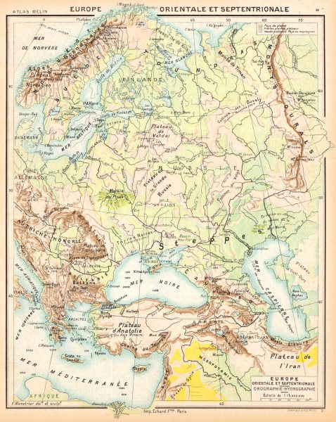 Associate Product EUROPE. Orientale Septentrionale; Orographie- Hydrographie 1900 old map