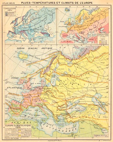 EUROPE. Pluies- Tempèratures Climats de L'Europe; Climatoloqiue; des 1900 map