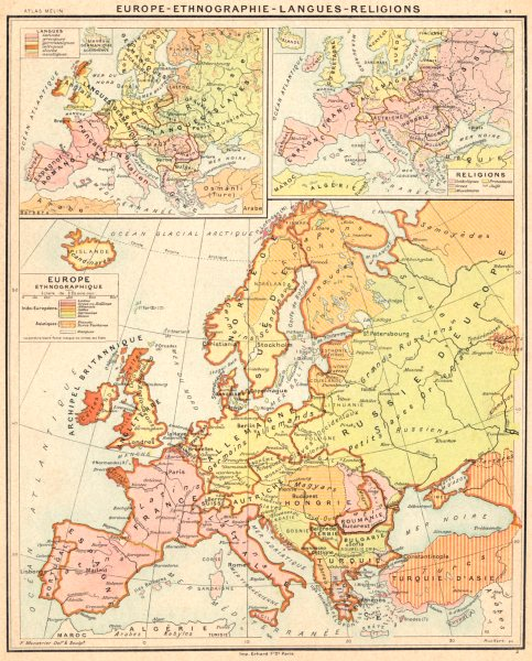 Associate Product EUROPE. Ethnographie- Langues- Religions 1900 old antique map plan chart