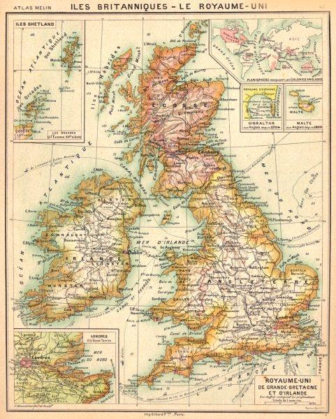 ILES BRITANNIQUES. Grande- Bretagne Irlande; Orcades; Gibraltar;Malte 1900 map