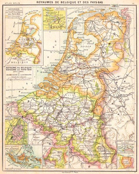 Associate Product BENELUX. Belgique Pays- Bas;Bruxelles; Indes orientales; Congo;Guyane 1900 map