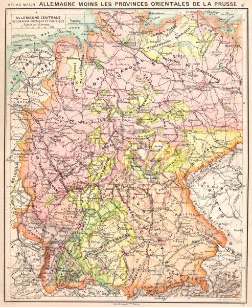 Associate Product GERMANY. Allemagne centrale Géographie Physique et Politique 1900 old map