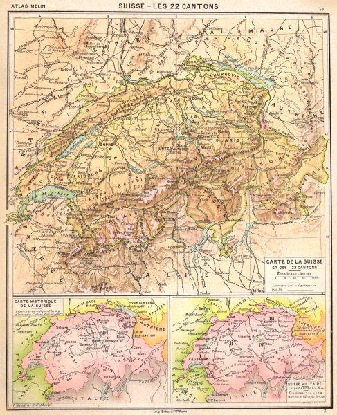 Associate Product SWITZERLAND. Suisse- 22 Cantons; Historique Militaire 1900 old antique map