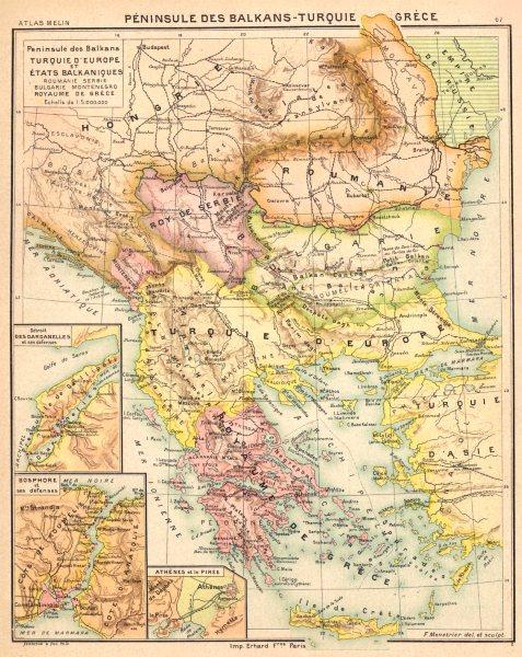 Associate Product BALKANS. Péninsule Turquie Grèce; Dardanelles; Bosphore;Athènes Pirèe 1900 map