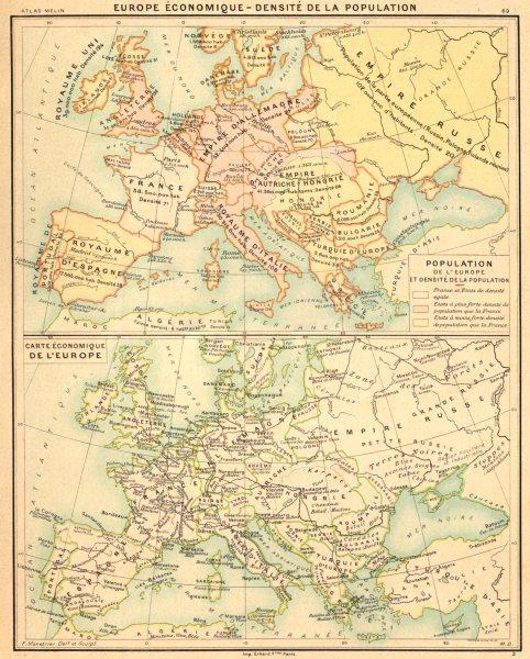 Associate Product EUROPE. Europe Économique- Densité de la population 1900 old antique map chart