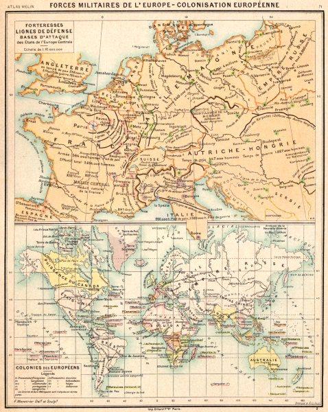 Associate Product EUROPE.Force Militaires;Lignes défense;Colonies Européen;line defence 1900 map