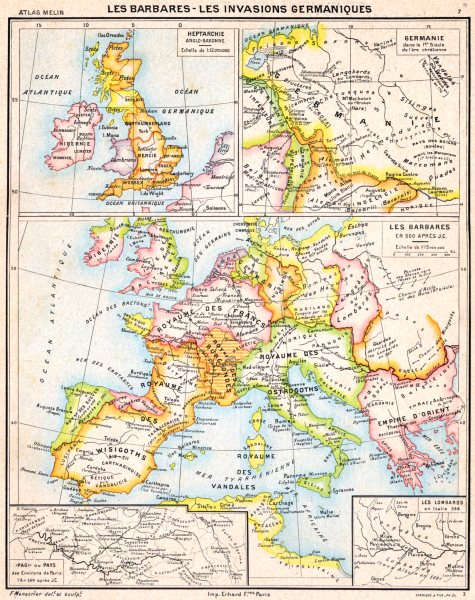 Associate Product GERMANY.Barbares-Invasions Germaniques 1C;Heptarchie Saxonne;Lombards 1900 map