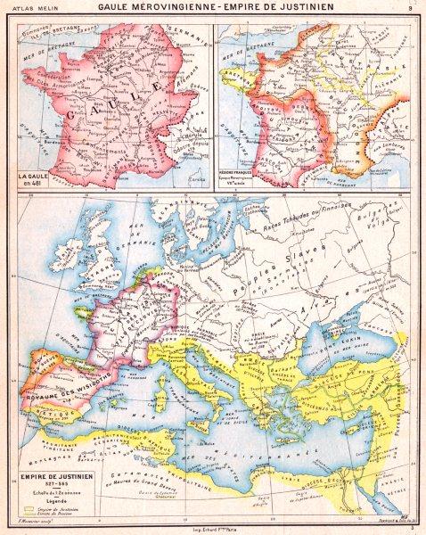 Associate Product EMPIRE DE JUSTINIEN. Gaule Mèrovingienne en 481 ;Régions Franques 1900 old map