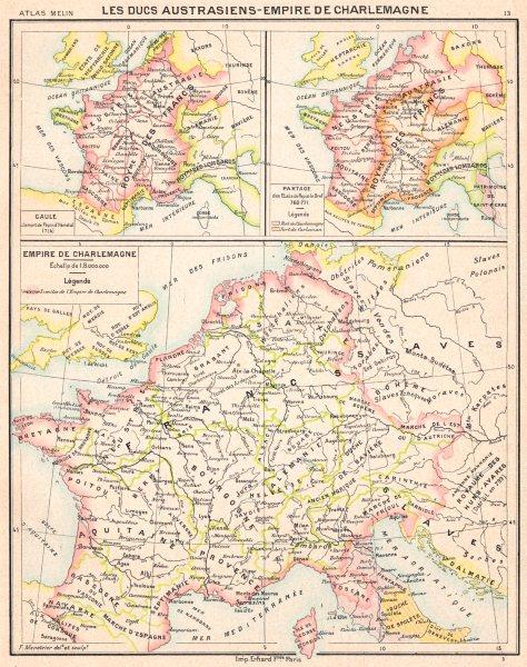 Associate Product EUROPE. Ducs Austrasiens- Empire de Charlemagne; maps Gaule; Partage 1900