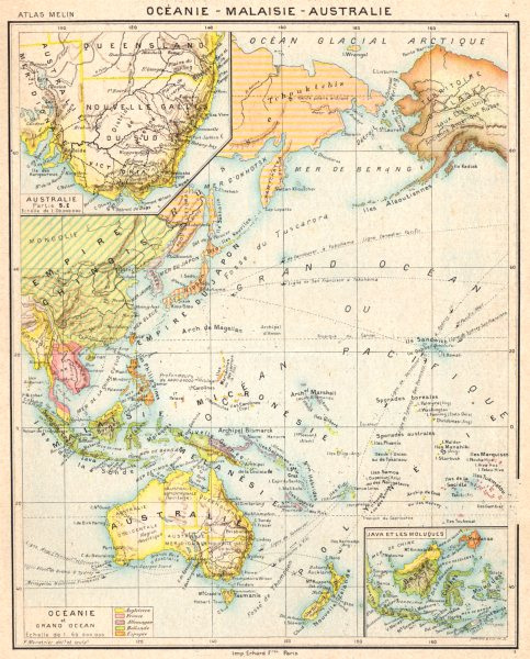 Associate Product OCEANIA. Australia Australie; Océanie; inset Java Moluques;  1900 old map