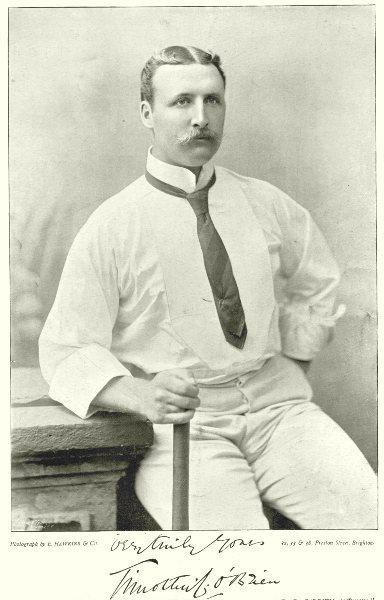 Associate Product MIDDLESEX CRICKET. TC TIMMY O'BRIEN- Irish; Oxford; batsman 1896 old print