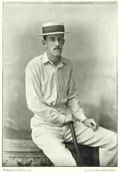 MIDDLESEX CRICKET. CYRIL FOLEY- Eton Cambridge Batsman 1896 old antique print