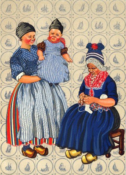 Associate Product NETHERLANDS. Volendam. Working Woman's dress, old, Child's everyday 1932 print