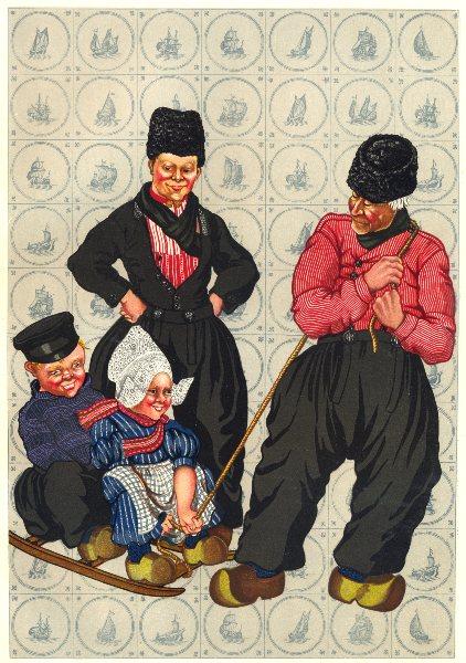 Associate Product NETHERLANDS. Volendam. Men's and Children's Dress 1932 old vintage print