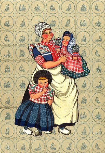 NETHERLANDS. Spakenburg and Bunschoten. Women's working Dress 1932 old print