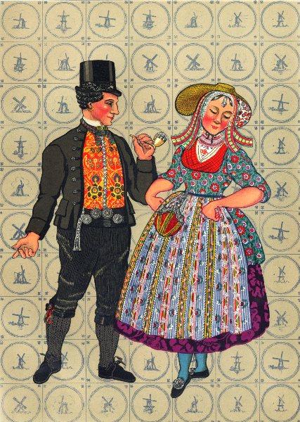 Associate Product NETHERLANDS. Walcheren. Women's dress, 1780- 1830 & Men's, 1870 1932 old print