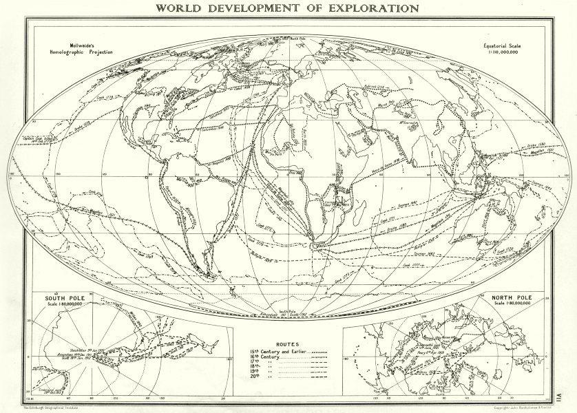 WORLD. Development of exploration; Inset maps south Pole; North Pole 1938