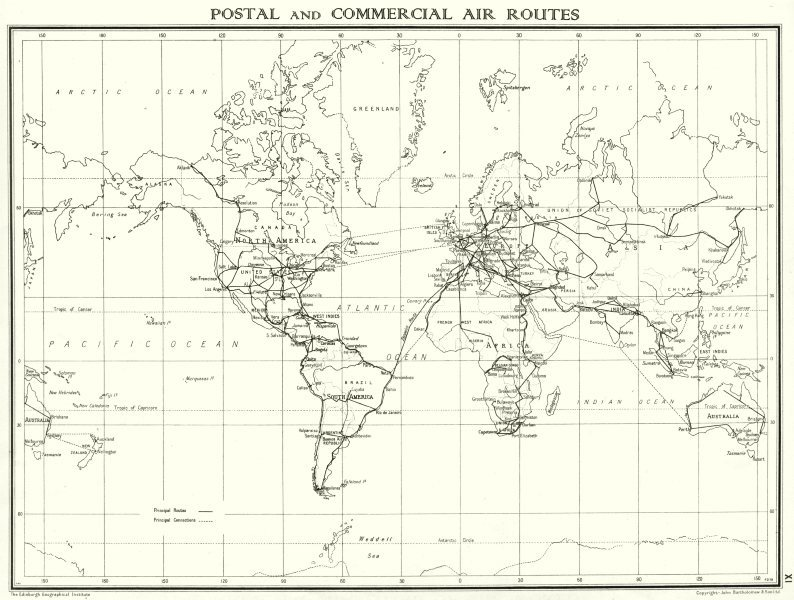 Associate Product WORLD. Postal and commercial Air routes 1938 old vintage map plan chart