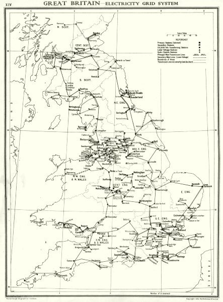 Associate Product UK. Great Britain- Electricity grid system 1938 old vintage map plan chart