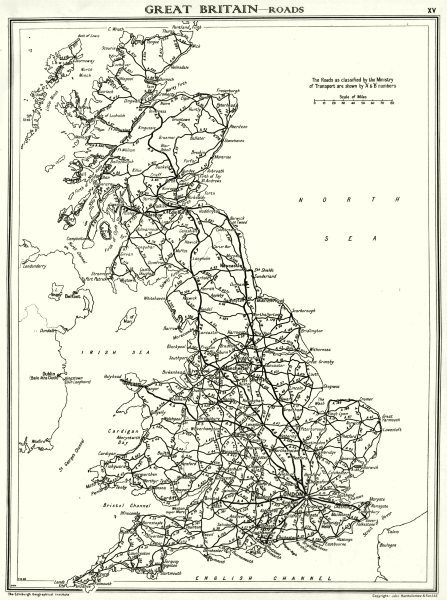 Associate Product UK. Great Britain- Roads 1938 old vintage map plan chart