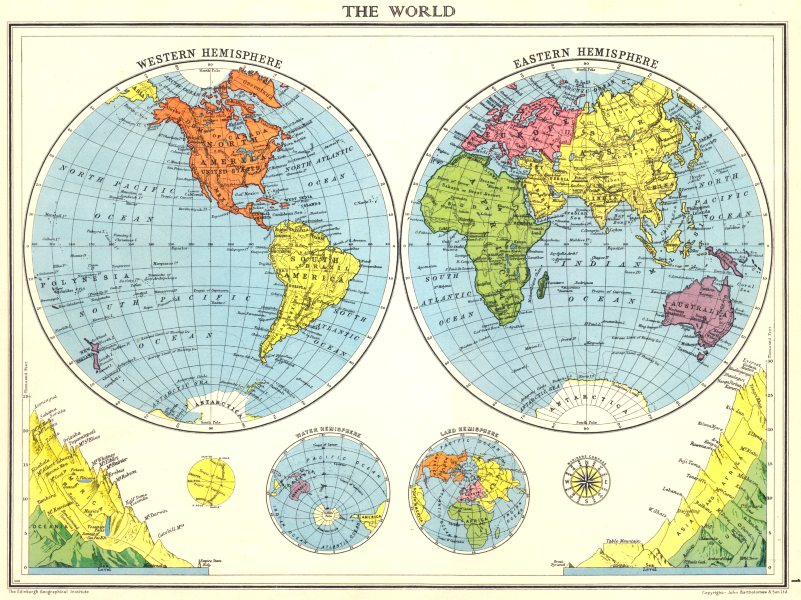 Associate Product WORLD. The World in twin Hemispheres. Mountain heights 1938 old vintage map