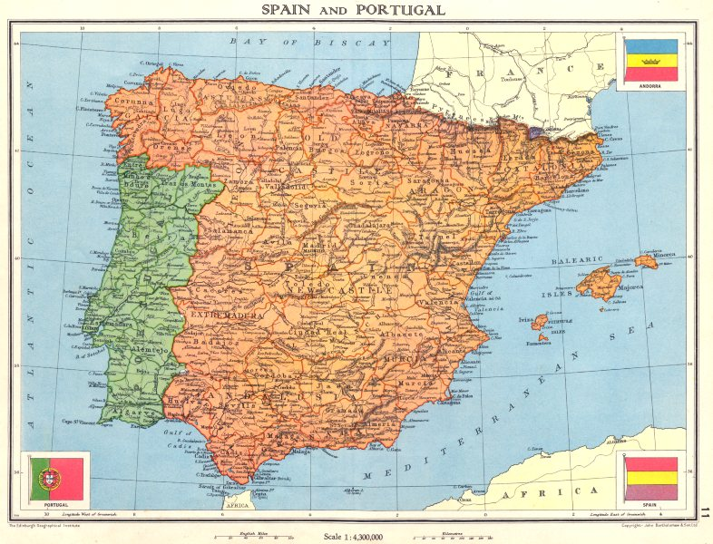 Associate Product IBERIA. Spain and Portugal 1938 old vintage map plan chart