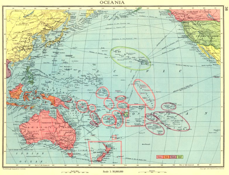 Associate Product AUSTRALASIA. Oceania; British Dutch French US possessions colonies 1938 map
