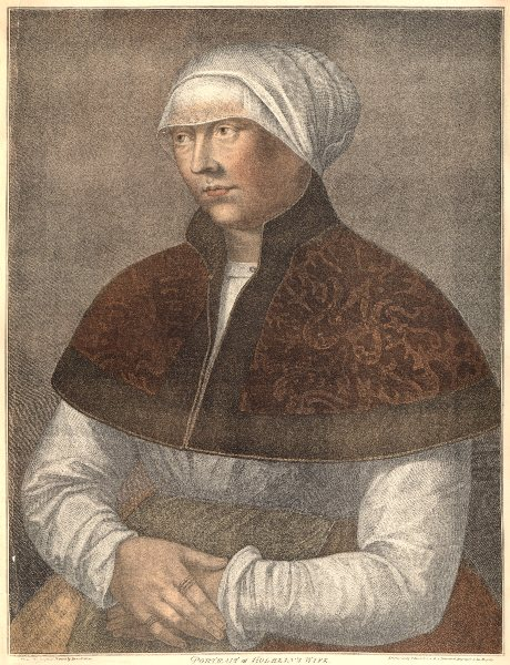 Associate Product Portrait of Holbein's wife by Bartolozzi after Holbein. Henry VIII's court 1884