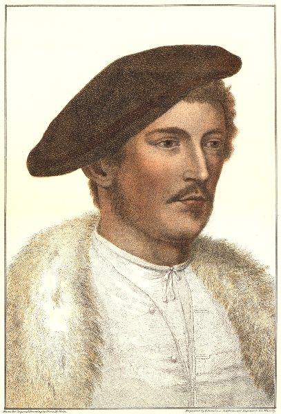 Associate Product Unknown man from court of Henry VIII (1) by Bartolozzi after Hans Holbein 1884