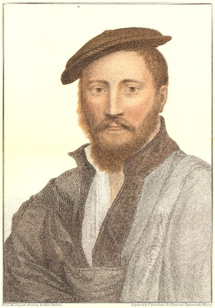 Associate Product Unknown man from court of Henry VIII (3) by Bartolozzi after Hans Holbein 1884